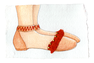 Studded fringed shoe design